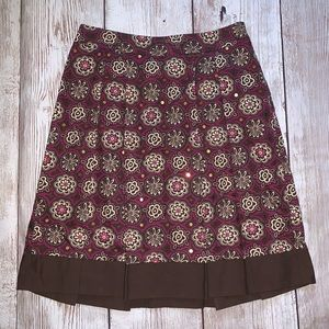 Loft Petites Floral Lined Pleated Skirt Size 2P